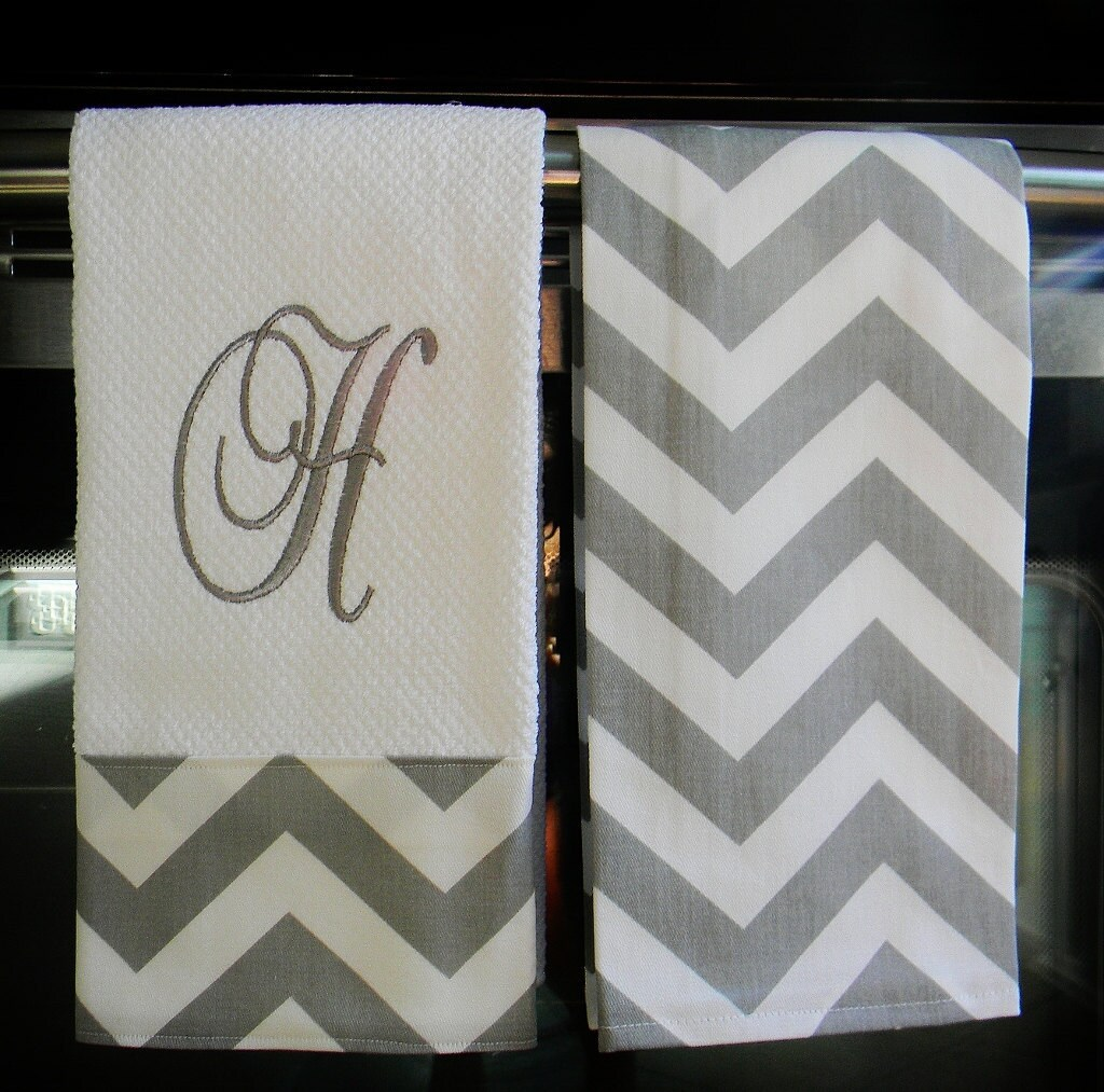 Monogram Towels For Bathroom: Monogram Kitchen Towels Or Hand Towels In Grey / White Chevron