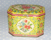 Vintage Tin Made in England Yellow Pink Flowers