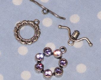 Package of 2 Swarovski Toggle Clasps Tanzanite Purple bracelet kit NEW  - destash