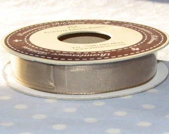 10 YDS French Renaissance Wired Sheer Ribbon - Light Brown - 1/2 inch wide - New Roll