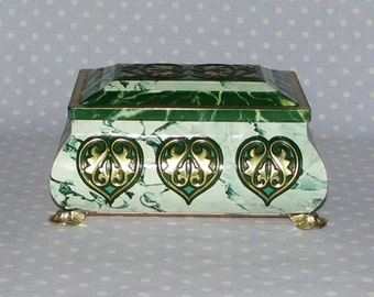 Vintage Tin Container Storage Box Green Gold Marble Made in Western Germany