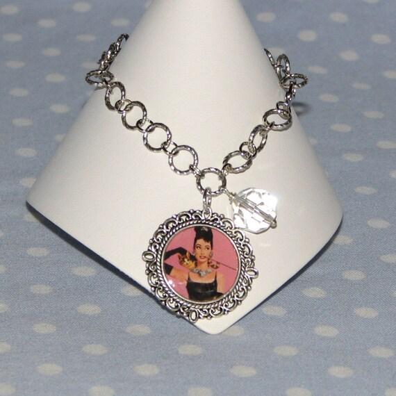 Audrey Hepburn Breakfast at Tiffany's Charm Bracelet SS Ornate Chain