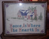 """Vintage Handmade Needlepoint Sampler  """"Home Is Where The Hearth Is"""" circa pre 30s"""