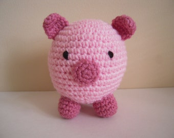 Crocheted Stuffed Round Amigurumi Pig