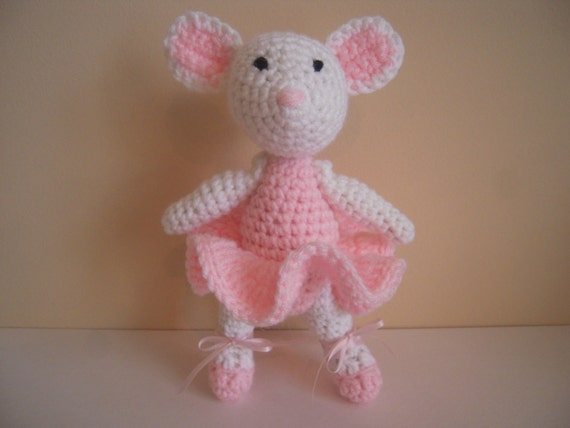 Crocheted Stuffed Ballerina Mouse - Moveable Arms and Legs