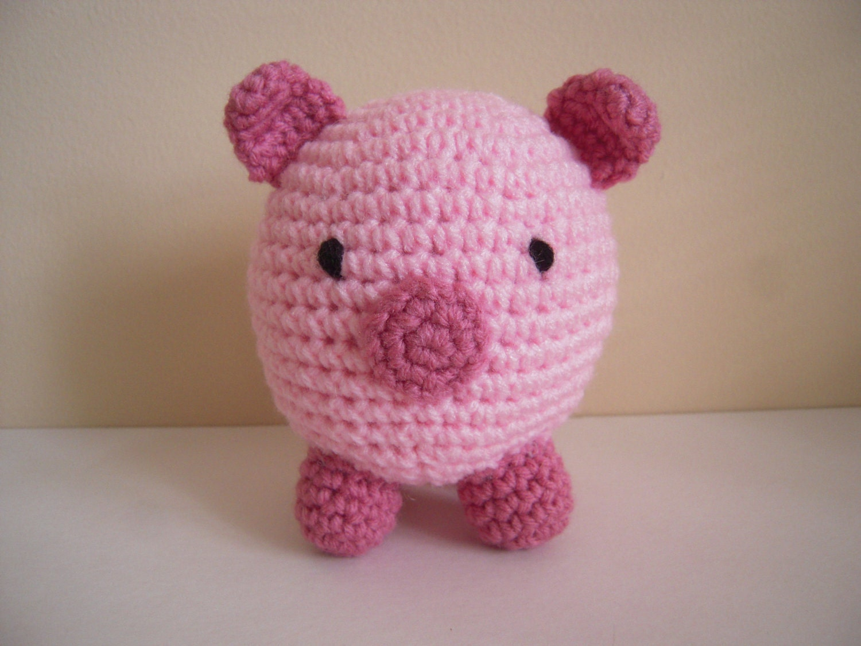 Crocheted Stuffed Round Amigurumi Pig