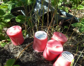 Strawberry soy and palm wax votives