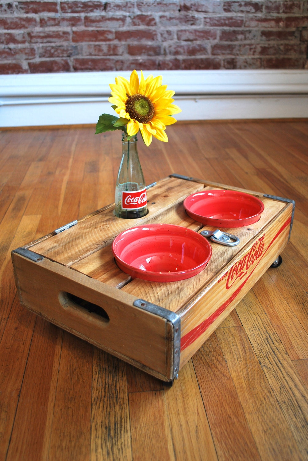 Upcycled Vintage Coca Cola Crate Pet Feeder