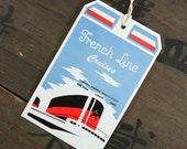"""1950's Vintage Travel Luggage Suitcase Tag """"French Line Cruises"""", Paper Ephemera, Collectibles"""