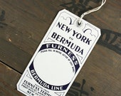 "1950's Vintage Travel Luggage Baggage Suitcase Tag ""Bermuda Line"", Paper Ephemera, Collectibles"
