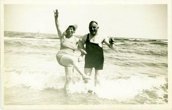 Vintage Photo Postcard, Lake, Sea, Ocean, Beach, Water, Children, Women, Men, Bathing Suit - Wish You Were Here