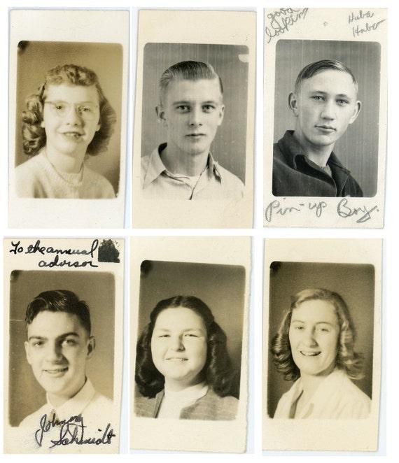 6 Vintage Photos - Fun Mix Photo Lot, School, Children, Boy, Girl - 93