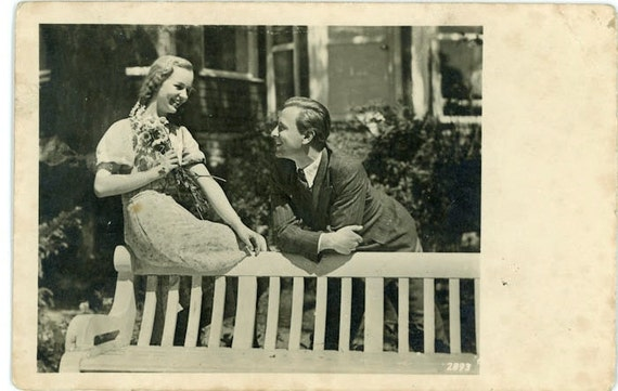"Vintage Photo Postcard ""First Date"", Photography, Paper Ephemera, Snapshot, Old Photo, Collectibles - HL002"