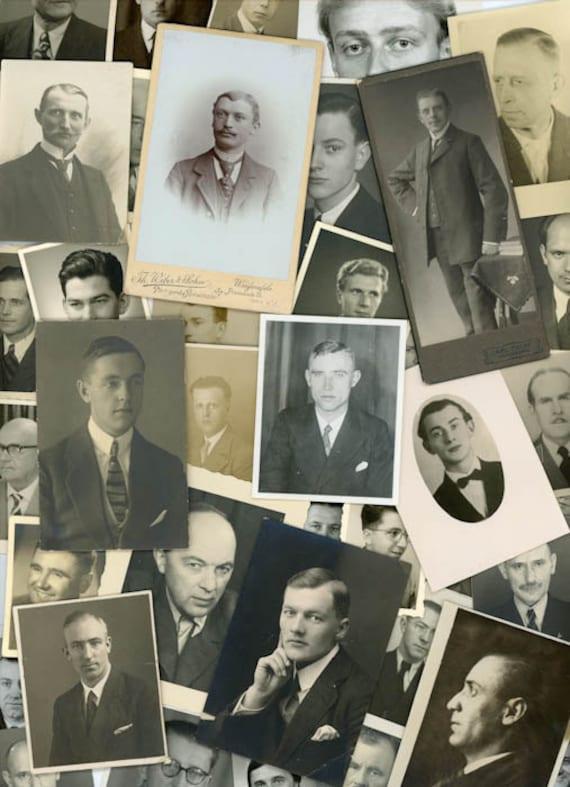 105 Vintage Photos - Fun Mix Photo Lot, Men, Man, Beard, Mustache, Portrait, Military, Antique, CDV - 266