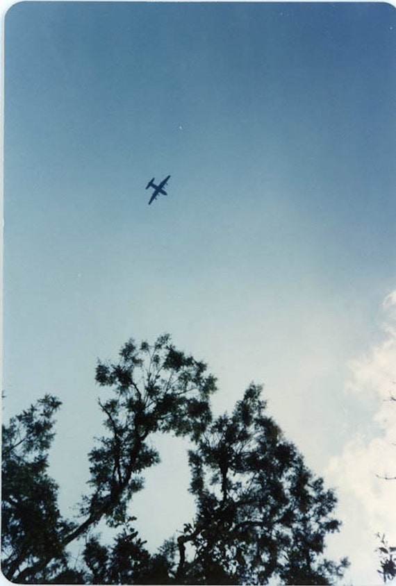 """1980s Vintage Photo """"Airplane in the Sky"""", Photography, Paper Ephemera, Snapshot, Old Photo, Collectibles - FT022"""