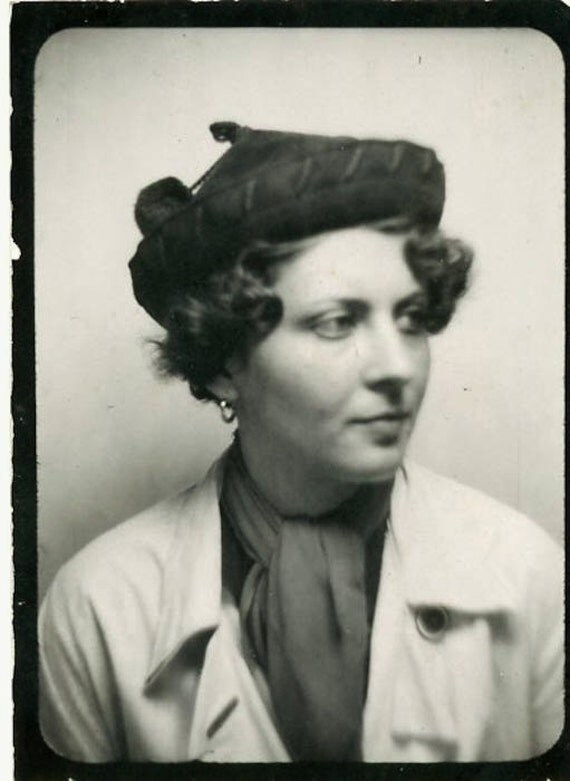 "Vintage Photo Booth Photo ""Woman in City Hat"", Photography, Paper Ephemera, Snapshot, Old Photo, Collectibles - JL014"