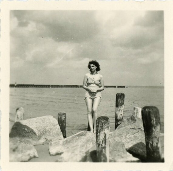 "Vintage Photo ""Beach Vacation"", Photography, Paper Ephemera, Snapshot, Old Photo, Collectibles - LBS006"