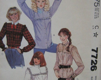 1981 Blouse Pattern McCall's 7726 Vintage Uncut  SZ 8