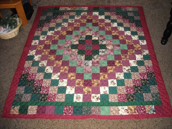 Free Quilt Patterns Queen Size Bed : Full/ Queen Size Quilt Burgundy & Green Trip by HillsideHobby