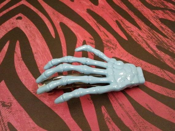 Light Blue Skeleton Hand Barrette