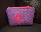 Hot Pink Flower Mini Zip Bag