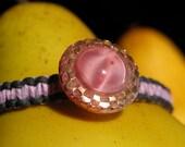 Vintage Pink Button Hemp Bracelet