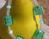 Green & Light Blue Square Bracelet