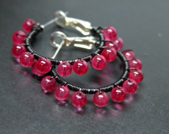 Black Wire Wrapped Pink Glass Bead Silver Plated Leverback Hoop Earring