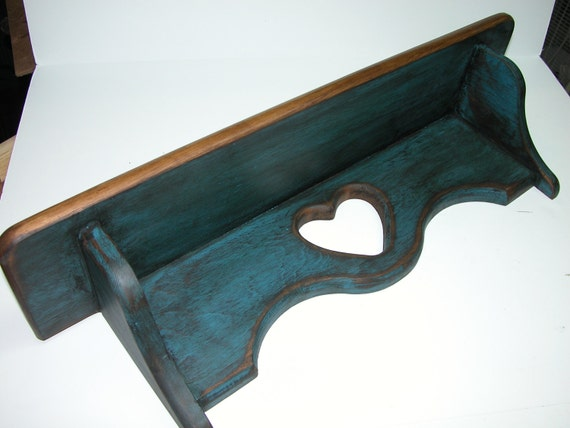 CUSTOM ORDER FOR Dee  Upcycled Dark Country Blue Primitive Wooden Shelf with Heart