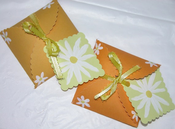Set of 6 Small White Flower on Yellow Cardstock Boxes with Flower Tags