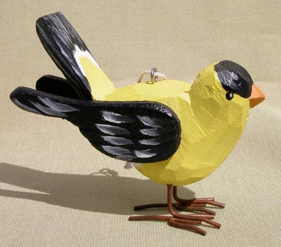 Wooden Yellow Finch Paint Bird