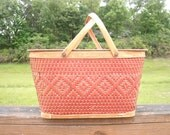 Vintage Red Orange Tan Wicker Woven Picnic Basket with Lid and Wood Handles