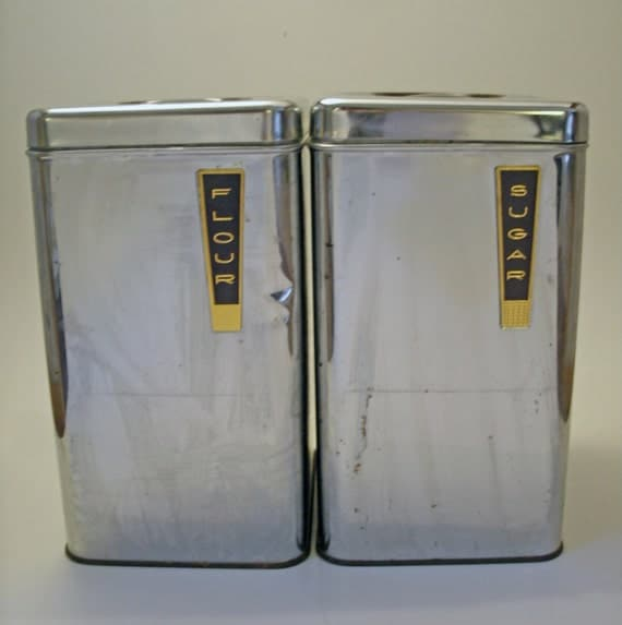 SALE 2 Vintage Metal Silver Beautyware Kitchen Canisters - Flour and Sugar