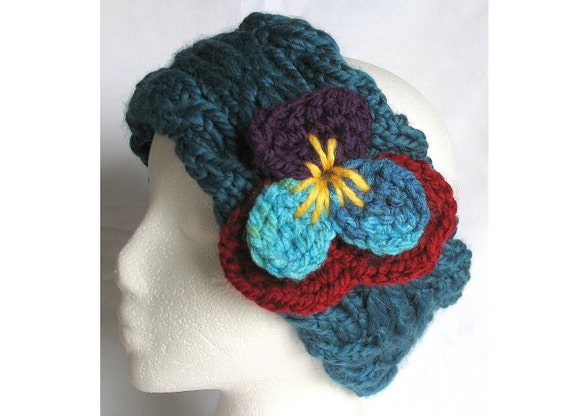 Hand Knit Headband Viola in Thunder Blue with Crochet Pansy Flower