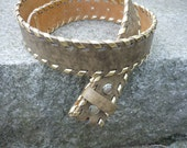 Leather belt strap: Tan Whipstitch