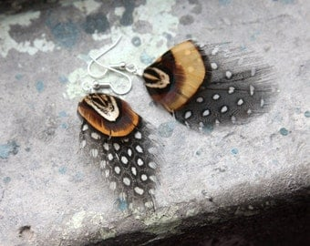 Guinea Hen and Pheasant Feather Earrings