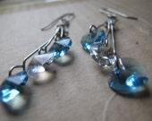 Earrings silver chandelier turquoise Swarovski hearts