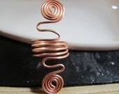 Copper wire wrapped abstract ring double spirals, geometric ring, coil ring, oversize ring