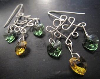 Spring Awakening: Silver chandelier earrings yellow, green Swarovski hearts, accessories, valentine's day , heart earrings