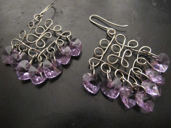 Earrings silver chandelier filigree with purple Swarovski crystal hearts, dangle earrings, valentine's day, accessories