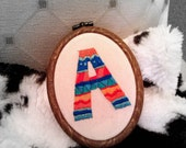 Aztec inspired A embroidered art (framed in hoop)