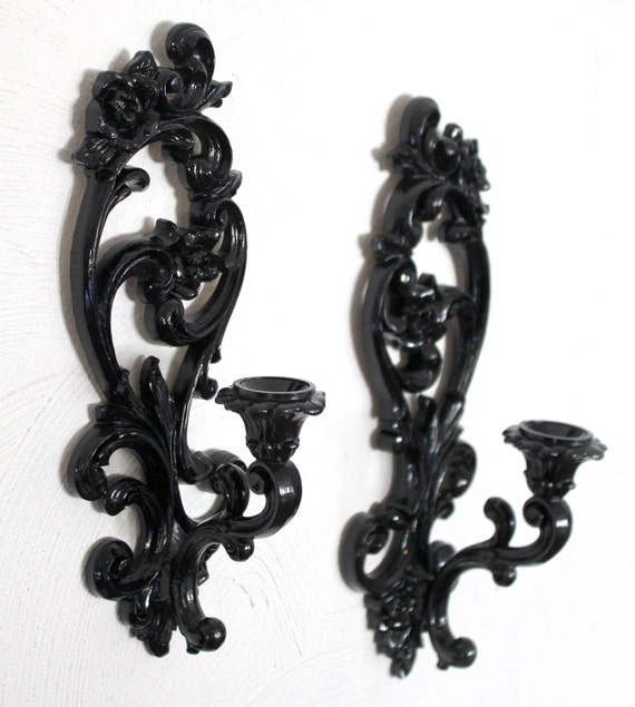 Black Candle Holder Wall Sconces by EmilyRaabCreative on Etsy