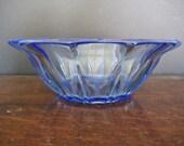 Vintage Blue Pressed Glass Serving Bowl