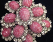 1950's Pink Ceramic and Rhinestone Brooch  TREASURY FEATURED ITEM