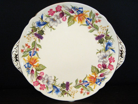 Cake Plate by Shelley China - Spring Bouquet
