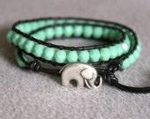 Cool Mint Green Bohemian beaded leather wrap bracelet, 2x Wrap bracelet, boho chic, Good Luck elephant, Chan Luu style