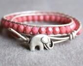 Pink beaded leather wrap bracelet, good luck elephant, 2x Wrap bracelet, Chan Luu Style, pink, silver, pearl