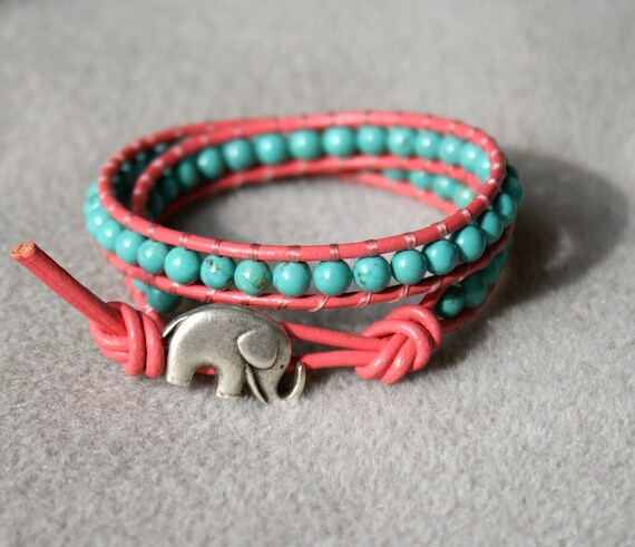 Blue Turquoise on Coral leather boho beaded leather wrap bracelet, Good Luck elephant, double 2x Wrap bracelet, Chan Luu Style