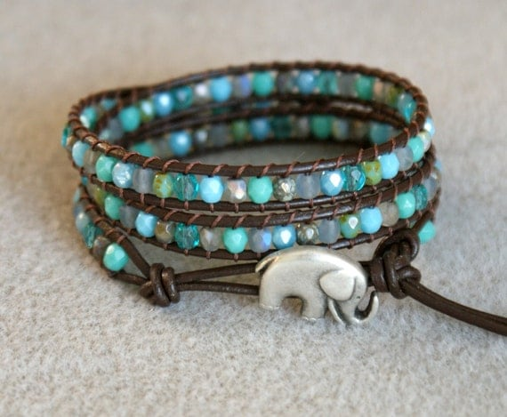 Turquoise mix Boho beaded leather wrap bracelet 'Salamandra's Treasure', good luck elephant bracelet, 3x Wrap bracelet, Chan Luu Style