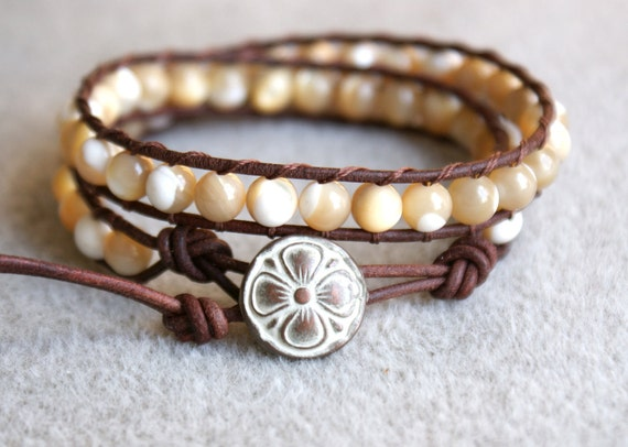 Natural Mother Of  Pearl bohemian beaded leather bracelet, 2x, double wrap, brown, white, boho glam, cottage chic, trendy jewelry